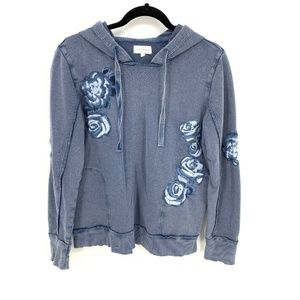 Lucky Brand Embroidered Floral Hoodie Sweatshirt